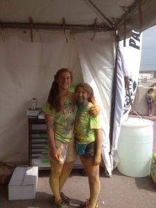 Ang and I volunteering at Colour me RAD.